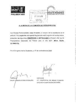 Conjunto de enmiendas al articulado de PSOE y Unidas Podemos a los Presupuestos Generales del Estado de 2021 registradas en el Congreso este 17 de noviembre de 2020.
