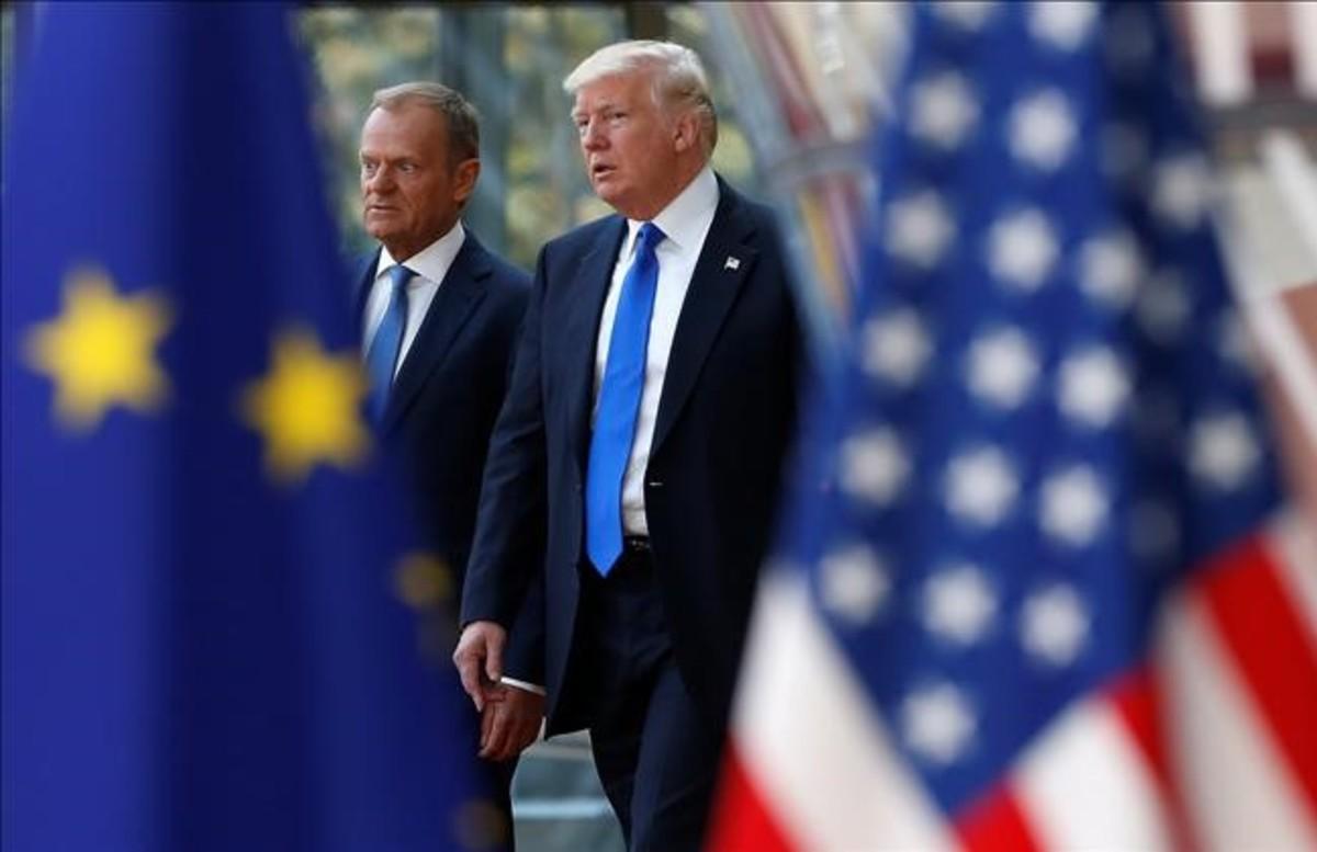 El presidente de EEUU, Donald Trump, es recibido en Bruselas por el presidente del Consejo Europeo, Donald Trump.