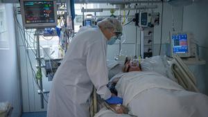 La uci del Hospital Clínic de Barcelona, el 22 de octubre.