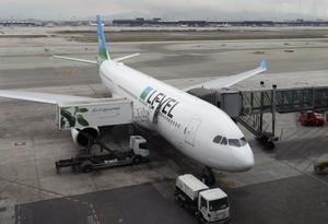 Avión de Level dispuesto para el primer vuelo directo de la firma entre Barcelona y Santiago de Chile.