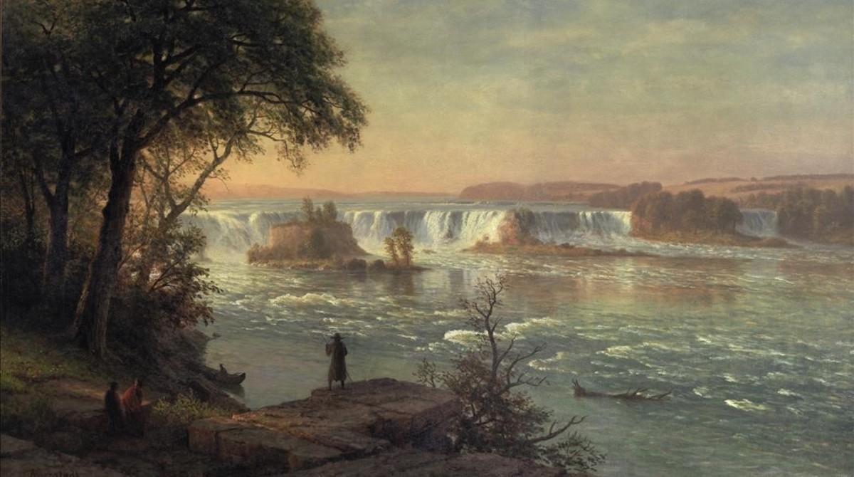 'Las cascadas de San Antonio', óleo de Albert Bierstadt que forma parte de la exposición 'La ilusión del Far West', en el Espai Thyssen de Sant Feliu de Guíxols.