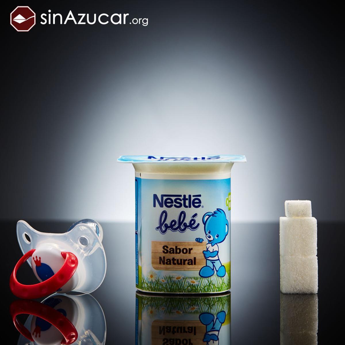 Un yogur Nestle para bebés tiene 9 gr de azúcar. Más de dos terrones.