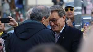 El jefe del Govern, Quim Torra, y el 'expresident' Artur Mas, en Barcelona.