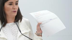 La ministra Carmen Montón, en la rueda de prensa para dar explicaciones sobre su máster.