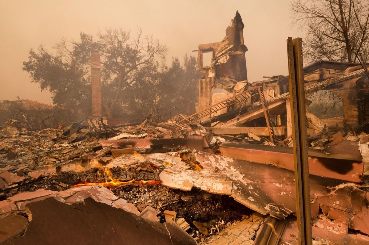Photo shows the charred remains of a home after the Woolsey fire swept through MalibuCalifThe number of structures destroyed by a huge Southern California wildfire has risen to 1 500Another 341 structures were damaged as of a Monday As firefighters mop uprepair and restoration of utilities is continuing along with repopulation of areas evacuated when winds spread the fire earlier this monthForecasters predict rain in the area by midweekAP Photo Ringo H WChiuFile