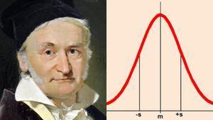 Johann Carl Friedrich Gauss, junto a una representación de su célebre campana.