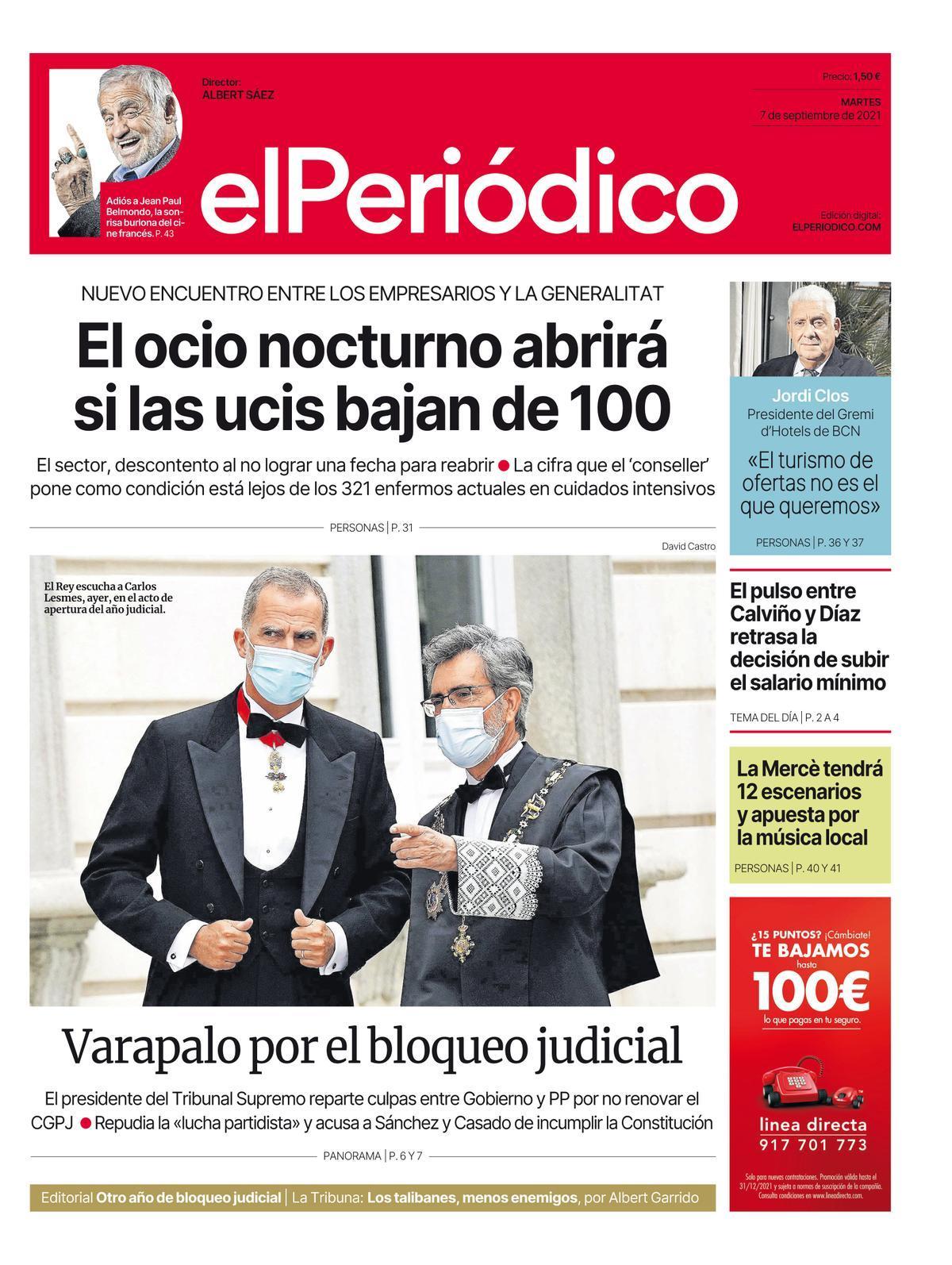 La portada de EL PERIÓDICO del 7 de septiembre del 2021