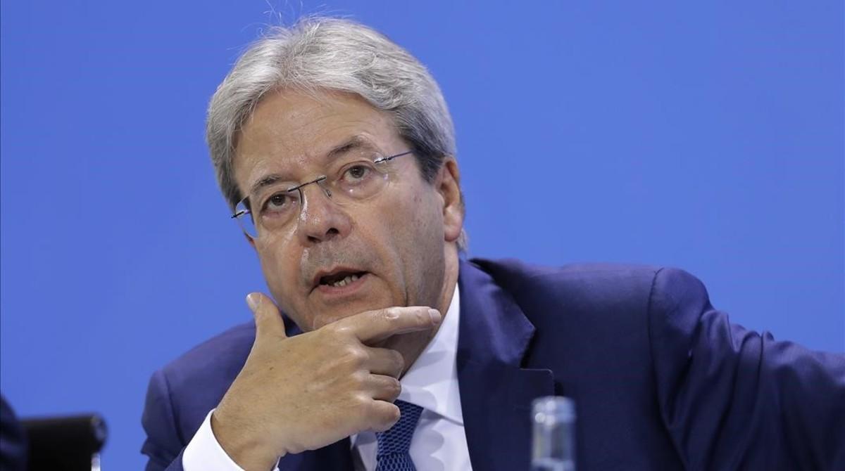 El primer ministro italiano, Paolo Gentiloni, durante la rueda de prensa en Hamburgo.