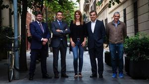 De izquierda a derecha, Javier Alonso, Francisco Rey, Diana Romero, Manel Peiró y Valentí Aragunde.