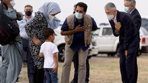 Llegada de un avión de evacuados de Kabul a la base aérea de Torrejón de Ardoz