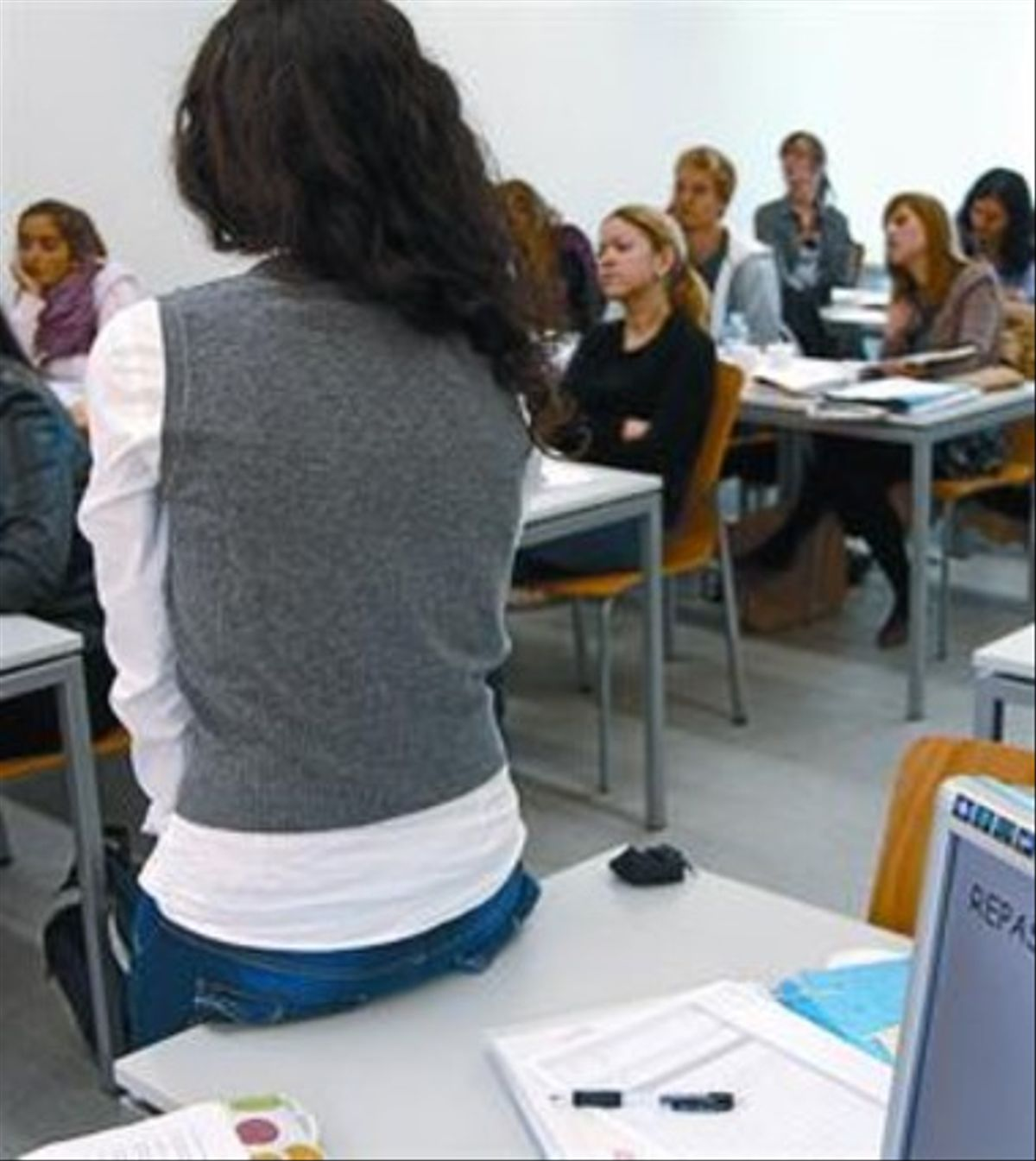 Una clase con alumnos de Erasmus en la Universitat Pompeu Fabra.