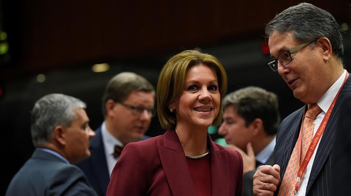 Cospedal, en el consejo de ministros de Defensa de la UE, en Bruselas.