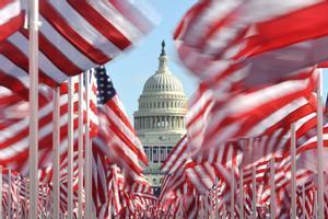 Las banderas estadounidenses plantadas frente al Capitolio para la toma de posesión de Biden.