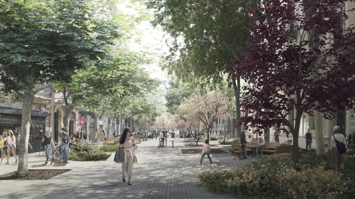 Imagen virtual de Consell de Cent, con más vegetación, más árboles, sin asfalto y con el 'panot' de siempre