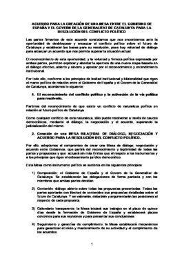 Acuerdo para la creación de una mesa entre gobiernos sobre Catalunya.