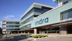 Imagen de la sede central de la multinacional española Indra en Alcobendas (Madrid).