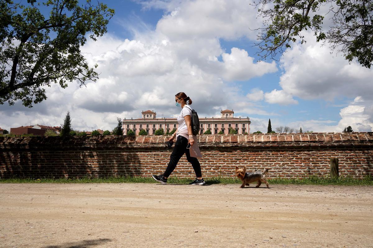 Una persona camina por el paseo del bosque de Encinas de Boadilla del Monte.