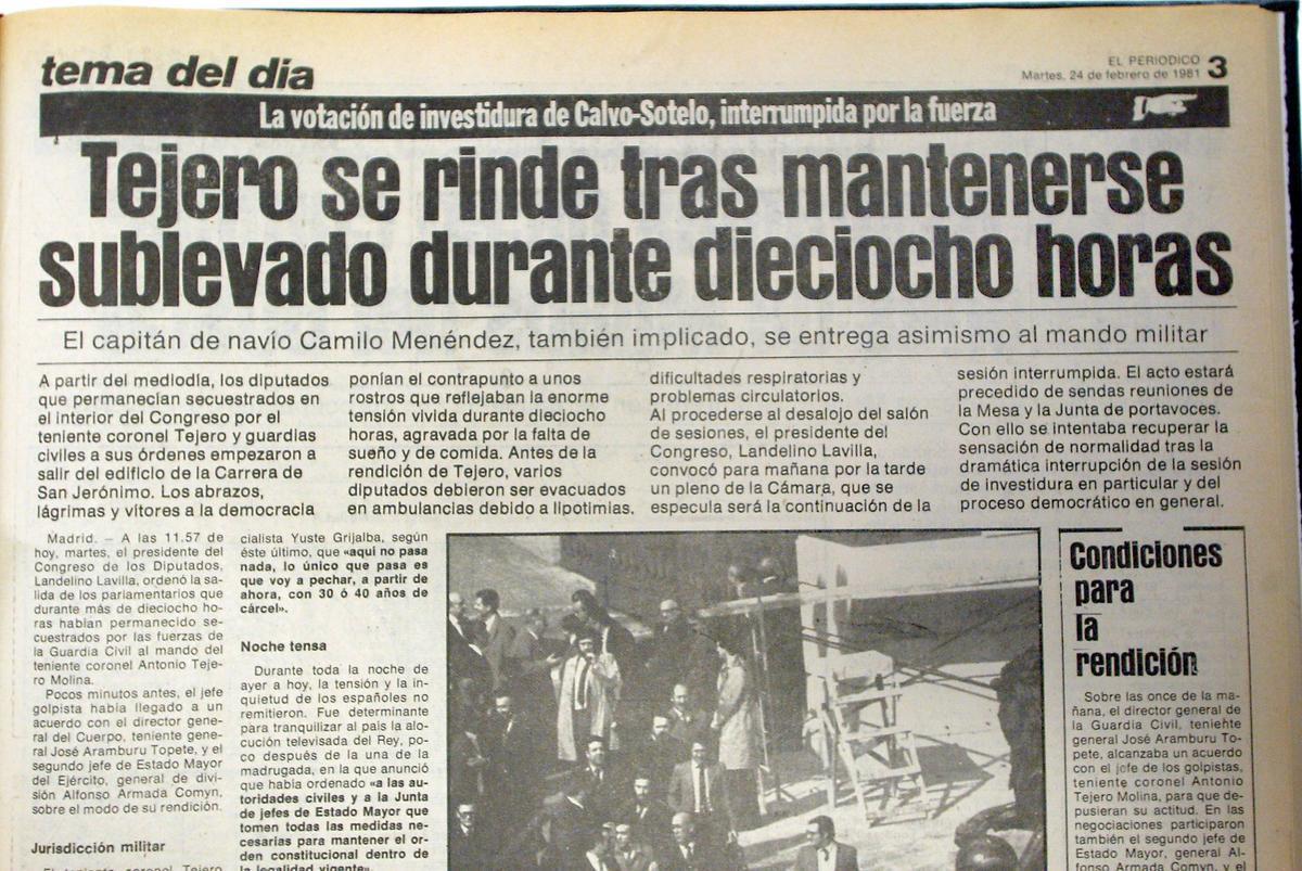 Noticia de EL PERIÓDICO sobre la rendición de Tejero tras el 23-F