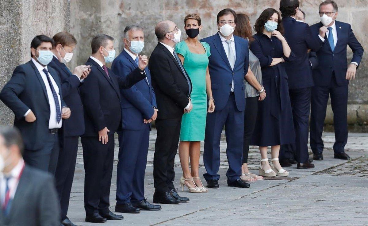 Varios presidentes autonómicos, en la conferencia de San Millán de la Cogolla (La Rioja), el pasado 31 de julio.