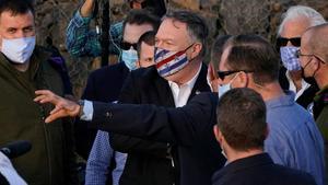 El secretario de Estado de EEUU, Mike Pompeo, durante su visita a los Altos del Golán, este jueves.