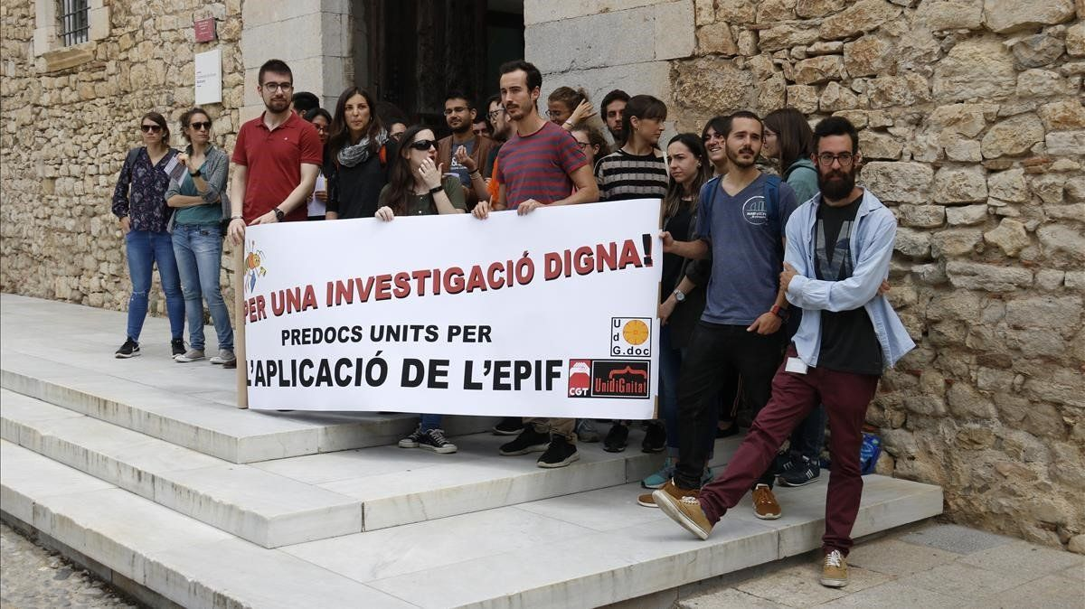 Protesta de investigadores de la Universitat de Girona.