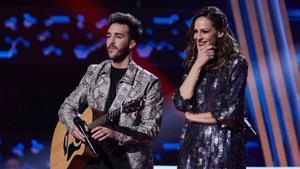 Eva González e Iván en los asaltos de 'La voz'.