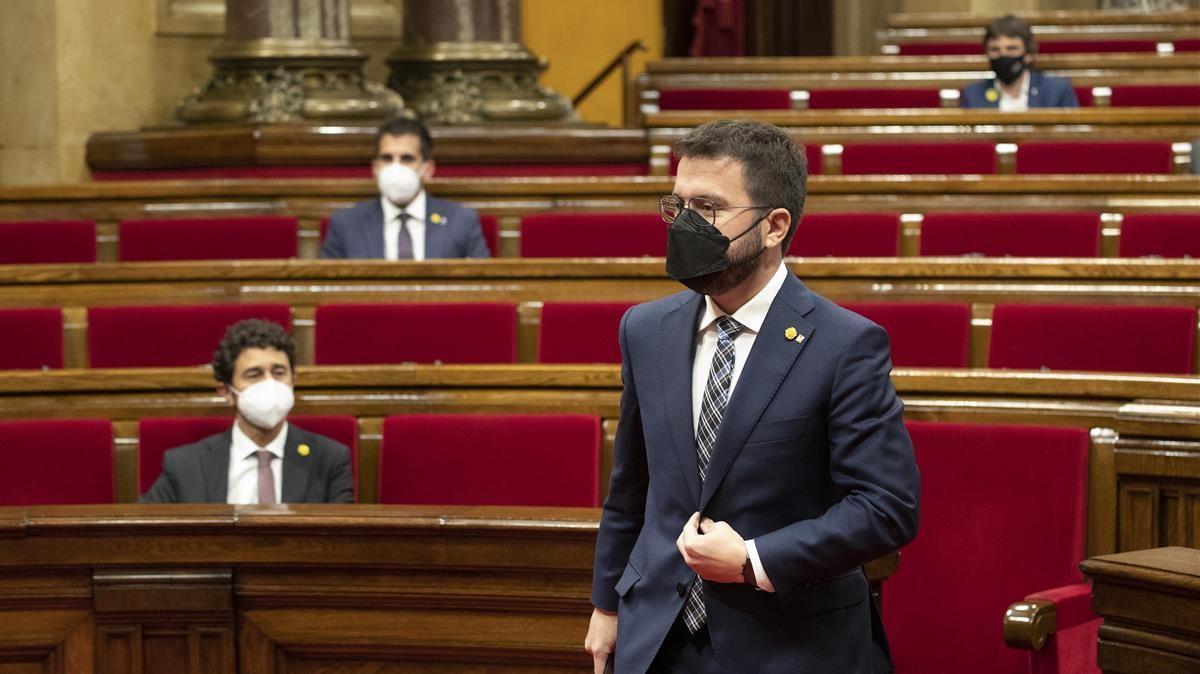 Pere Aragonés en la sesion de control del Parlament de Catalunya.