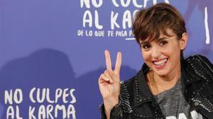 Verónica Echegui, en Madrid, durante la presentación de 'No culpes al karma de lo que te pasa por gilipollas'.