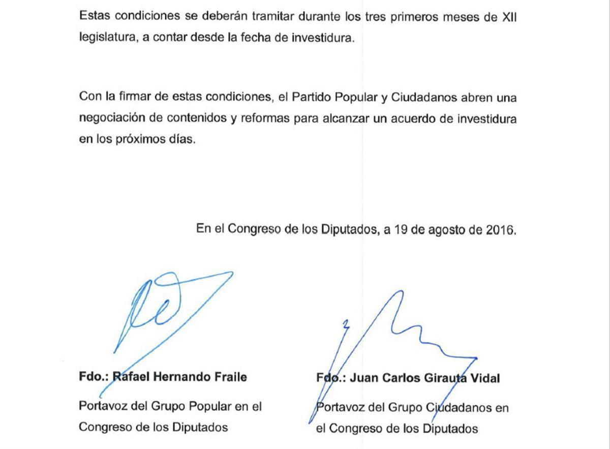 El pacto anticorrupción solo entrará en vigor si Rajoy es investido presidente