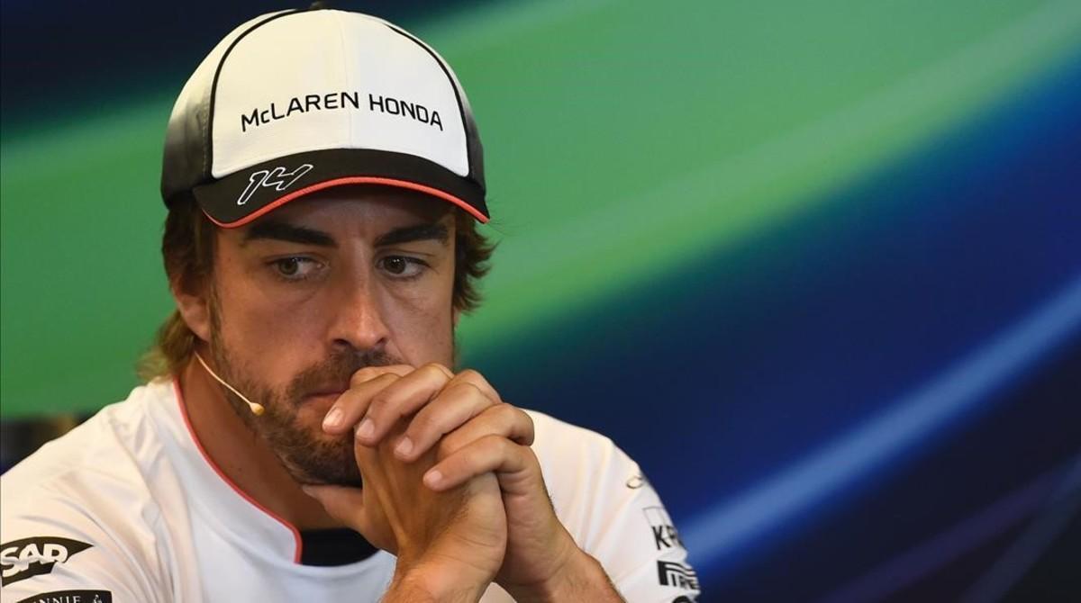 Fernando Alonso, en la conferencia de prensa de Spa.