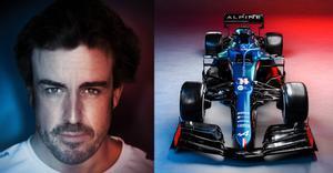 Fernando Alonso, junto a su coche para 2021.