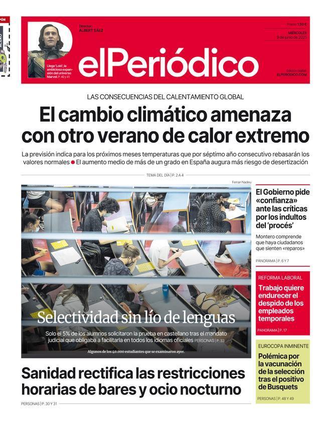 La portada d'EL PERIÓDICO del 9 de juny del 2021