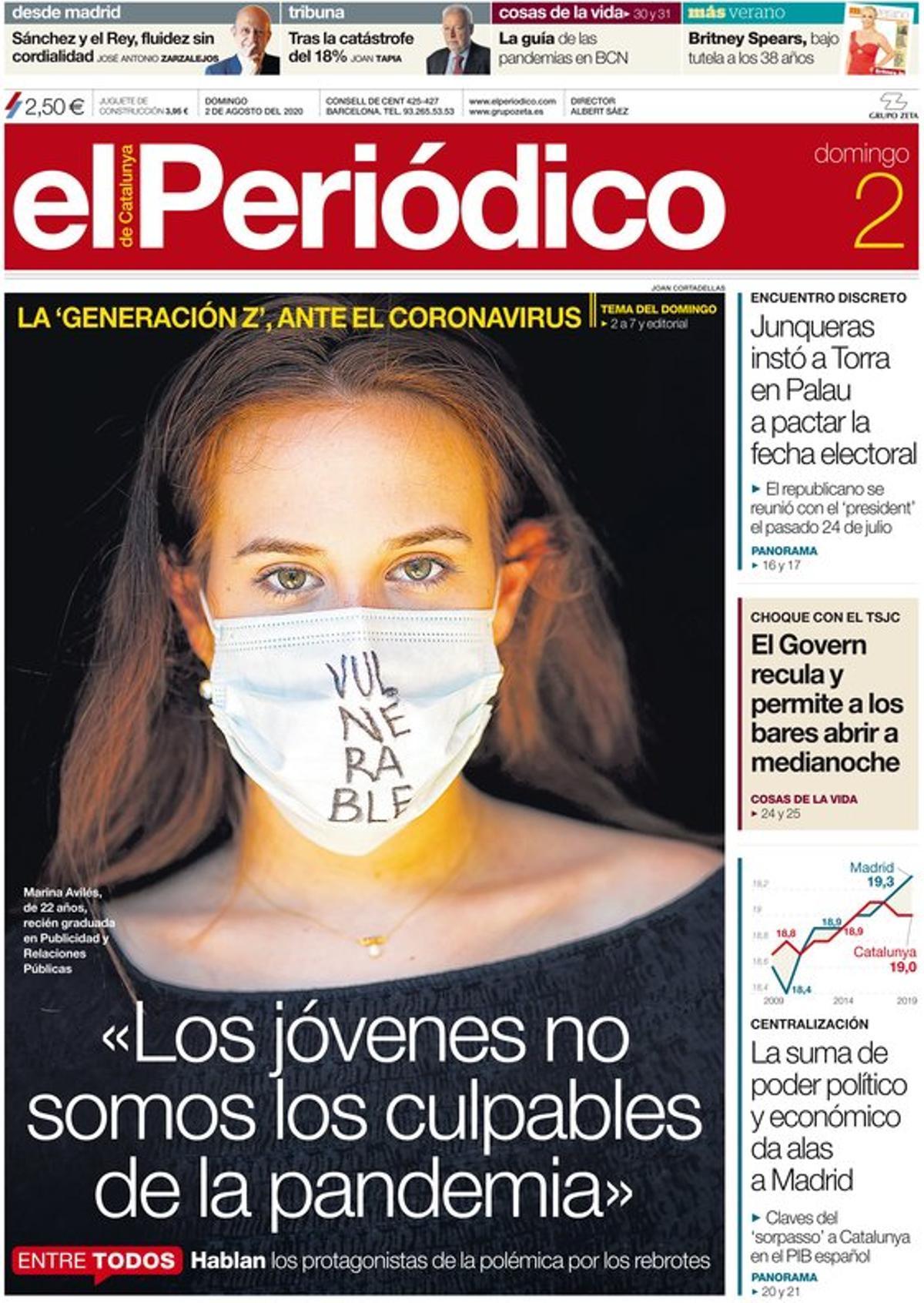 La portada de EL PERIÓDICO del 2 de agosto del 2020