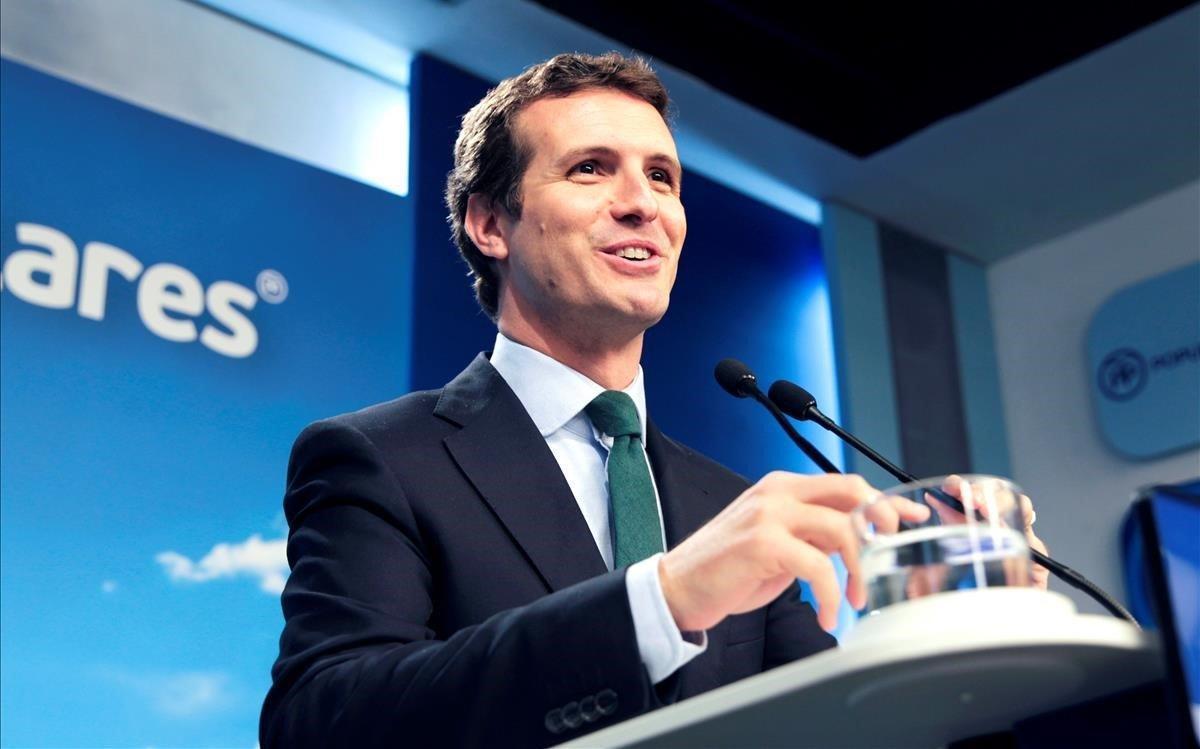 Pablo Casado, ante la prensa tras la última reunión de la cúpula del PP, el pasado 30 de abril.