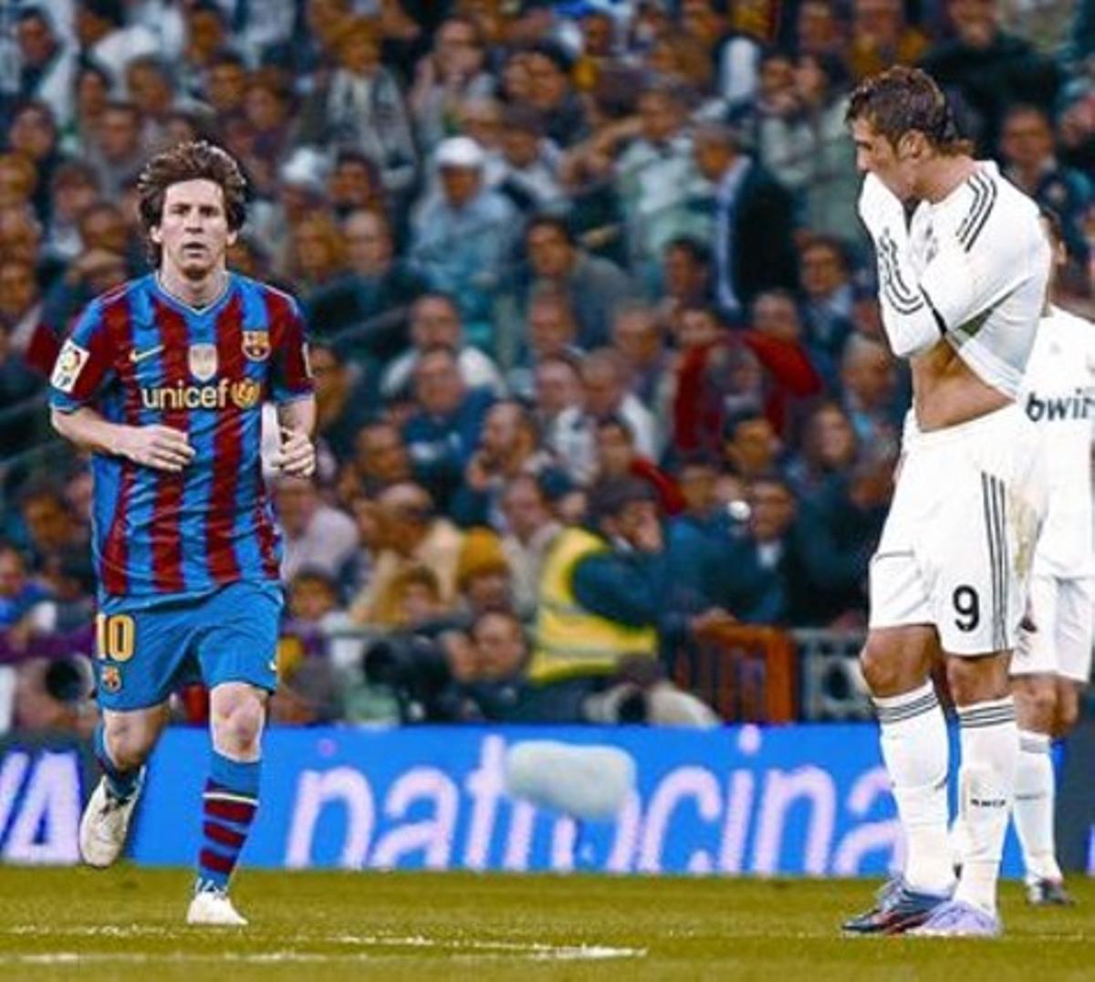 Dos estilos 8 Messi (de frente) y Ronaldo (de soslayo) simbolizan dos maneras de hacer las cosas en el fútbol.