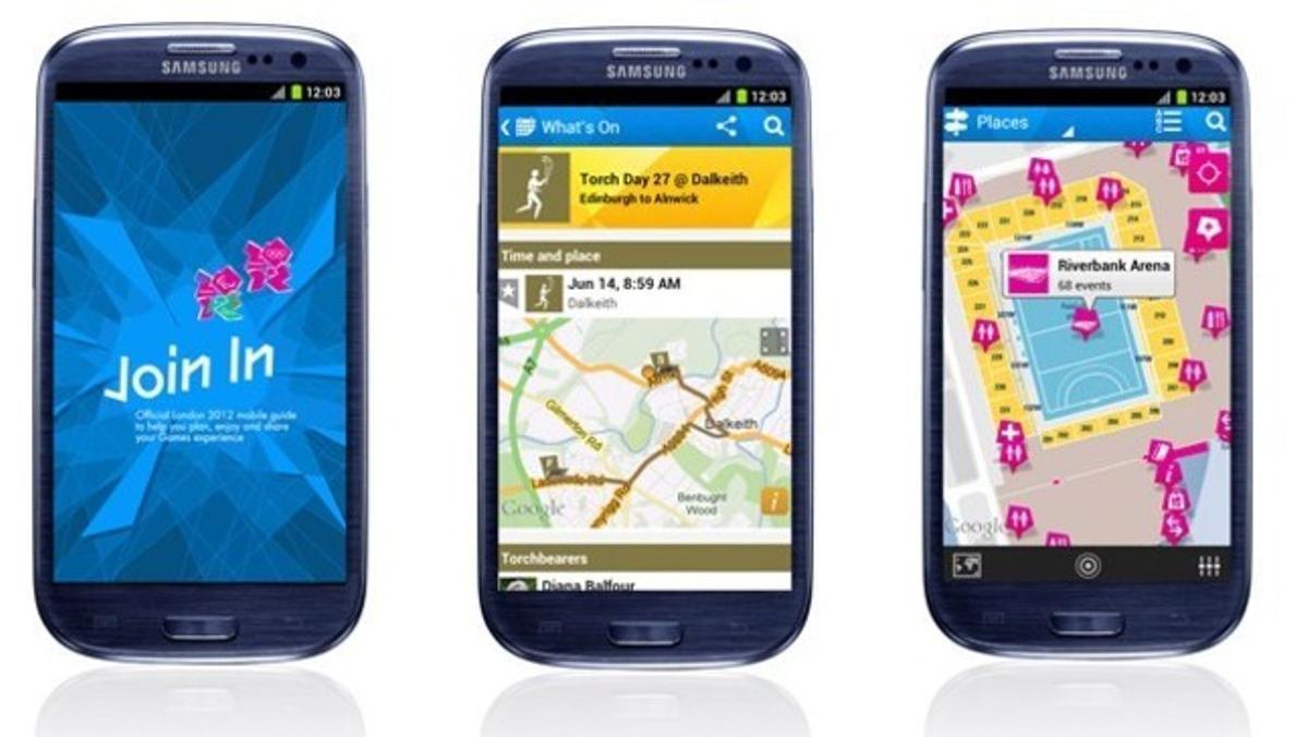 Tres 'smartphones' con las nuevas aplicaciones sobre los Juegos Olímpicos. LONDRES 2012