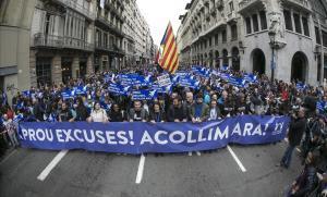 Manifestacion 'Casa meva, Casa vostra' en Barcelona por los refugiados.