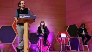 Pablo Iglesias durante el acto de campaña de En Comú Podem, en Santa Coloma de Gramanet.