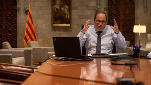 El presidente de la Generalitat, Quim Torra, durante una reunión telemática para tratar el inicio del curso escolar, este lunes 8 de septiembre.