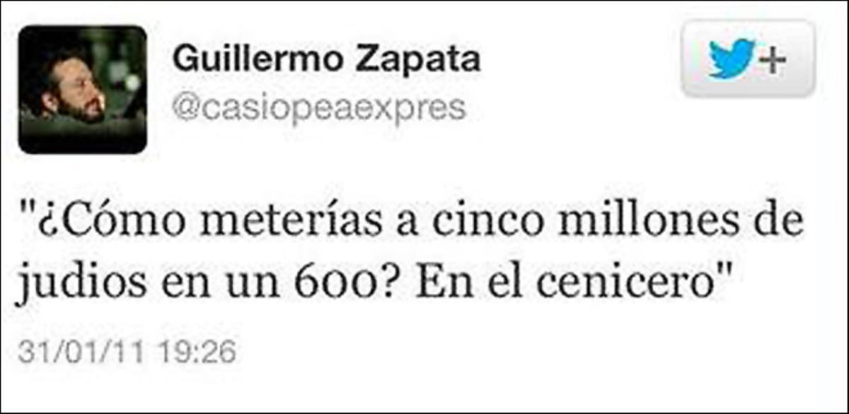 El tuit que Guillermo Zapata publicó en el 2011.