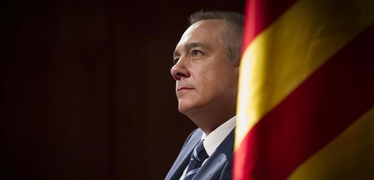 El primer secretario del PSC, Pere Navarro, durante la conferencia que ha ofrecido este martes en Barcelona.