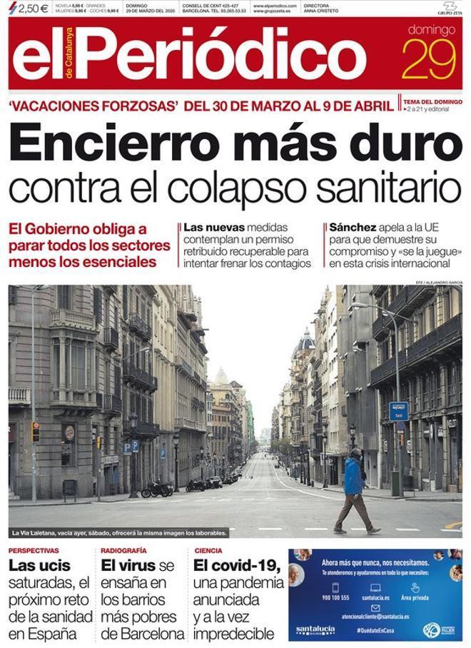 Prensa de hoy: Las portadas de los periódicos del domingo 29 de marzo del 2020