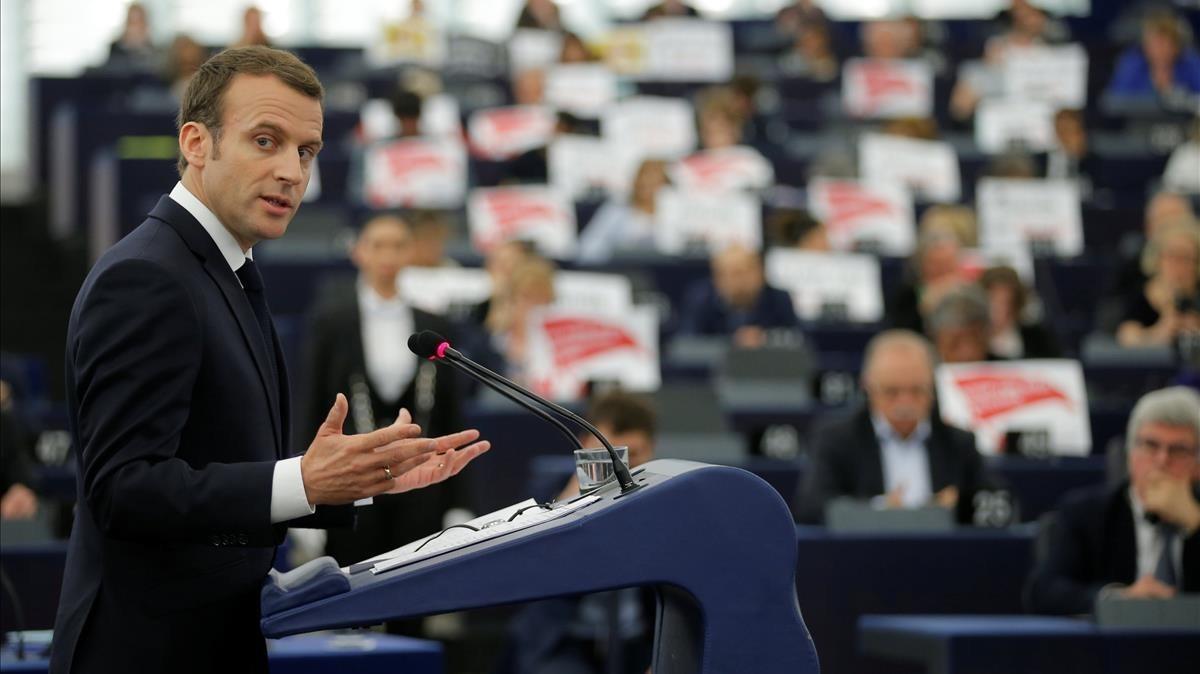 Macron, en su intervención ante el Parlamento Europeo en Estrasburgo.