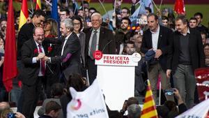 El acto central de campaña del PSC ha tenido lugar en el Centro de Congresos de Barcelona.
