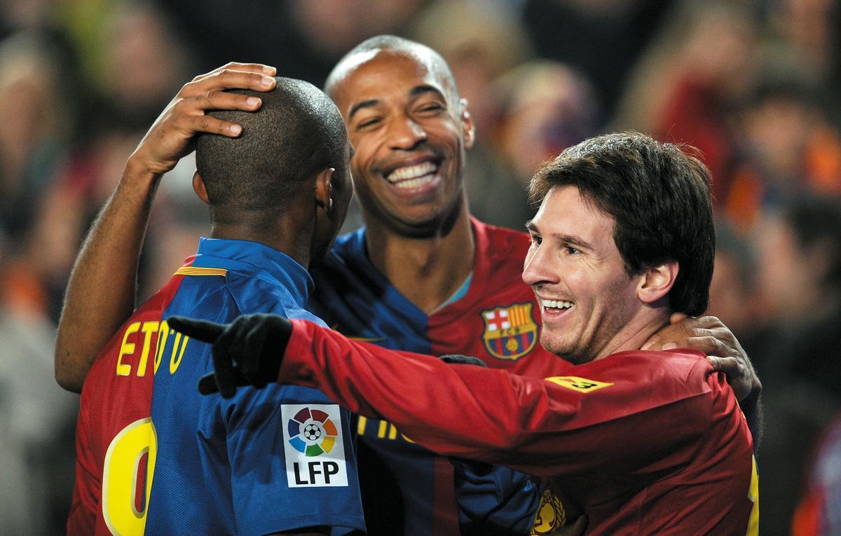 Messi, Henry y Etoo, en el 2-6 en el Bernabéu.