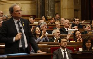 El 'president' de la Generalitat, Quim Torra, este miércoles en el hemiciclo catalán.