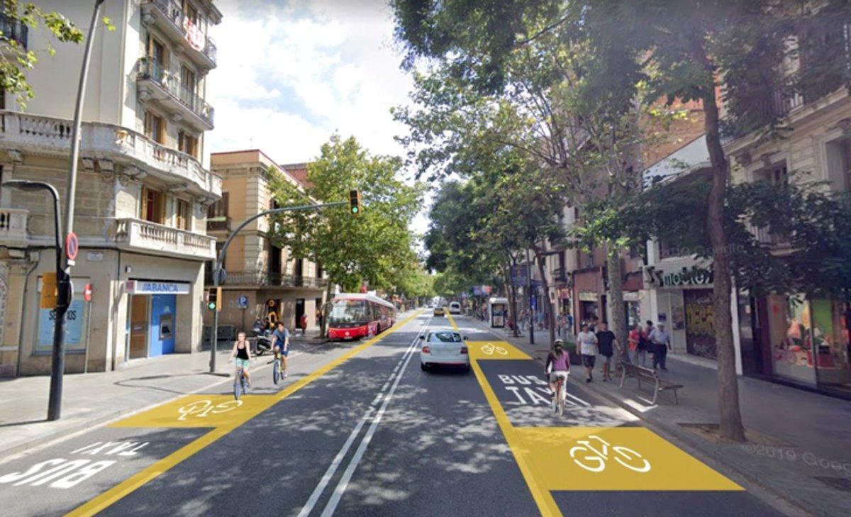 Carril bici compartido con el carril bus en Creu Coberta