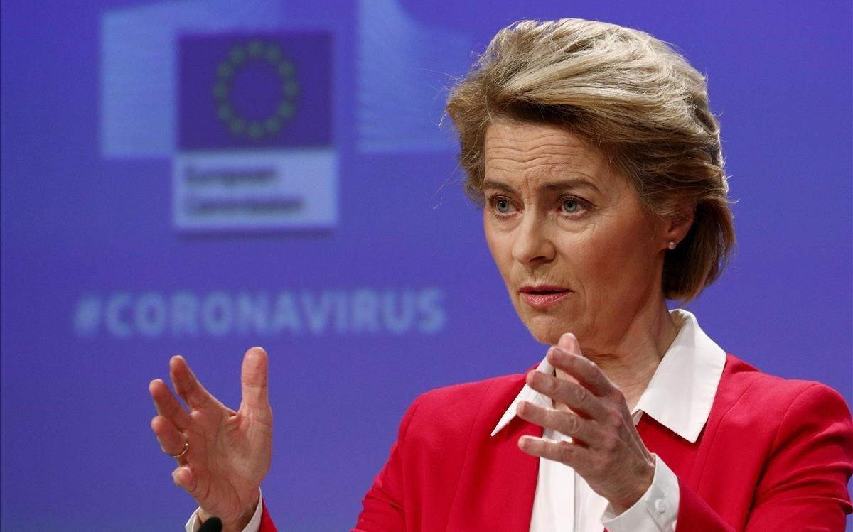 Von der Leyen, en una conferencia de prensa sobre las acciones de la CE en relación a la crisis del coronavirus, el 2 de abril.