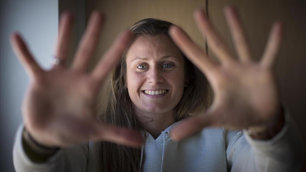 Sandra Paños, portera del Barça femenino, en la ciudad deportiva Jon Gamper.