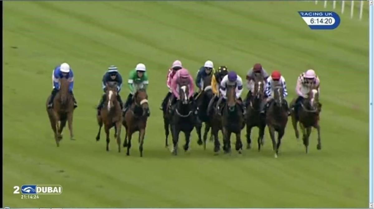 Captura de la imagen televisiva de la carrera en la que ha caído derrotado el caballo Brexit.